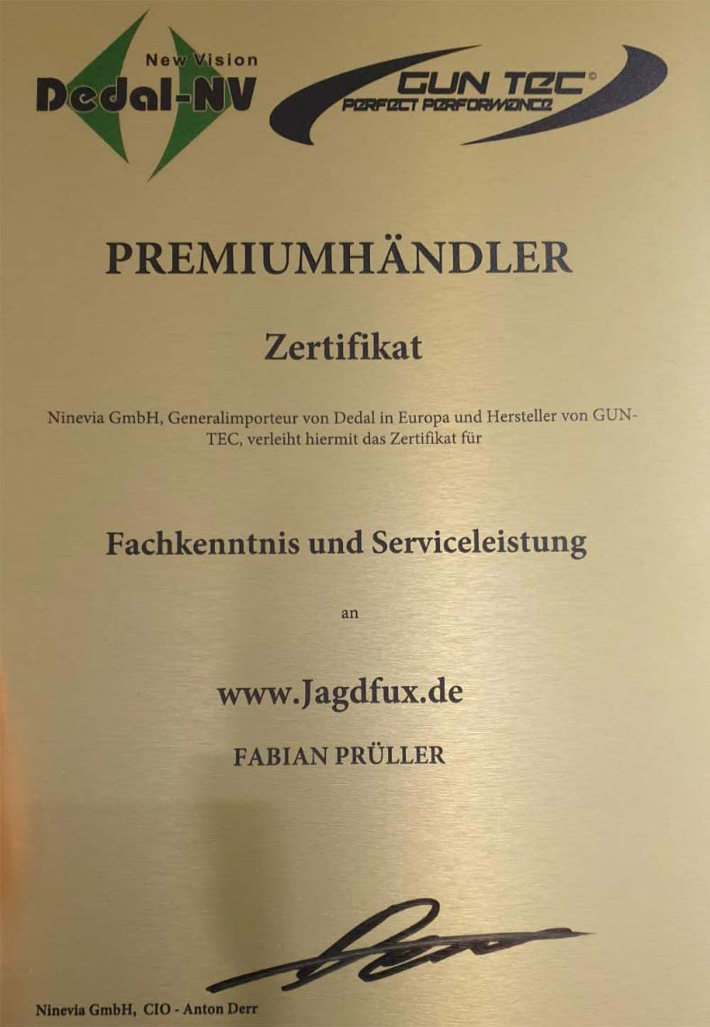 Jagdfux Zertifikat - Dedal Premiumhändler