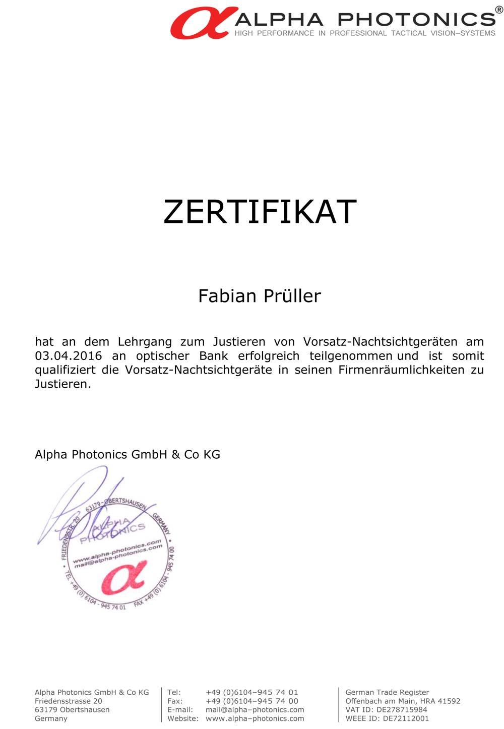 Zertifikat Justierung Alpha Photonics